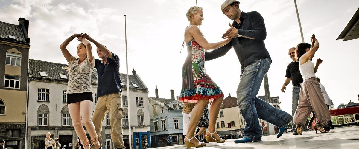 Dancing in the street in Bergen. Norway is ranked the happiest country in the world.