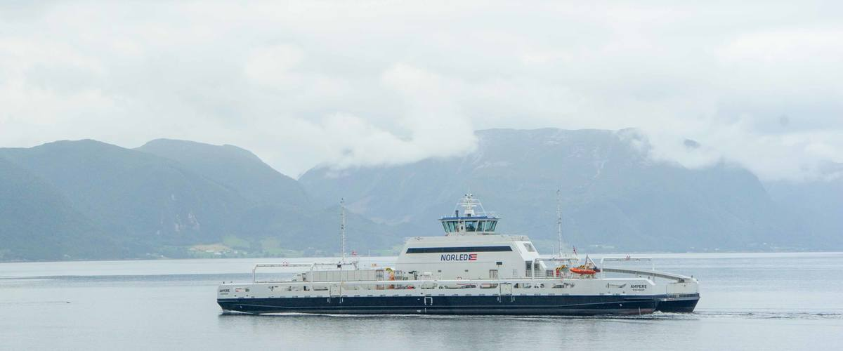 """Ampere"": Norway's first modern electric ferry has already traveled a distance equal to three times around the world. This ferry alone saves a million litres of diesel a year.  Photo: Paal Kvamme"