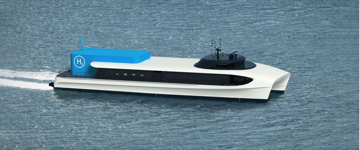 Clean, hydrogen-powered fast ferries could soon be travelling up and down the Norwegian coast. Here is one design for what these vessels could look like, produced by Brødrene Aa. Photo © Brødrene Aa.