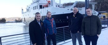 Fantastic day in Greater Bergen for Serge Buy (left). Here together with the ones behind the brand new electric ferry Husavik: Håvard Frøland, Corvus; Stein Ruben Larsen, Norwegian Electric System and Lars Conradi Andersen from Havyard.