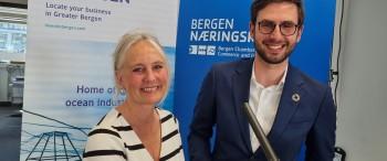 (l-r) Webinar hosts Tone Hartvedt (Invest in Bergen) and Anri Håvard Hebib (Bergen Chamber of Commerce and Industry)