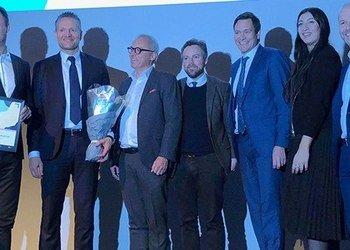 From left: Atle Sivertsen, Jan Erik Kjerpeseth, Stig Frode Opsvik, Minister of Trade and Industry Torbjørn Røe Isaksen, Bent Gjendem, Rea Parashar and Simen Armond.