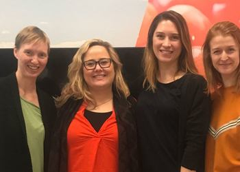 Breaking down barriers with new network for women. From left: Annette Stephansen (NORCE), Katinka Bratland (BTO), Mona Leirgulen (BTO) and Marit Eggen (Western Norway University of Applied Sciences (HVL)).