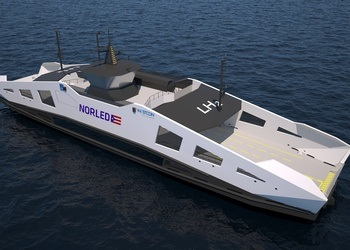 The Norwegian company Norled is building the world's first liquid hydrogen ferry, pictured.