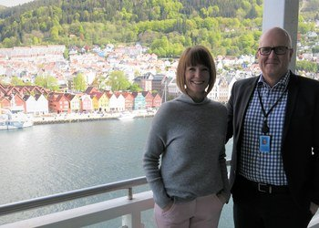Kristin Helen Andersen, VP of IT at G2 Ocean, together with Leif Arne Strømmen, G2 Ocean's VP of Innovation.