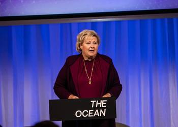 Norway's Prime Minister Erna Solberg stated that the oceans will be key to meeting future global challenges, at a conference that took place in Bergen yesterday. Photo © THE OCEAN, ToveLise Mossestad.