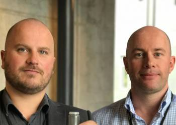 Jan Børge Sagmo (left) and Finn Blydt-Svendsen, founders of Bergen Carbon Solutions, are working on a method for capturing and recycling carbon dioxide..
