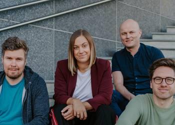 The Dealflow team (l-r, Håkon Leinan, Stine Sofie Grindheim, Ole Bernhard Larsen, Jens-Petter Tonning) (Photo courtesy of  Siv-Elin Skoglund, Opplett)